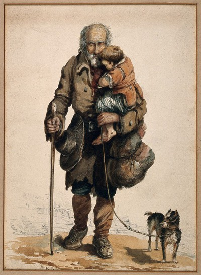 Image from object titled An old blind man holding a child walks guided by his stick and dog. Coloured watercolour drawing by R.R.S.
