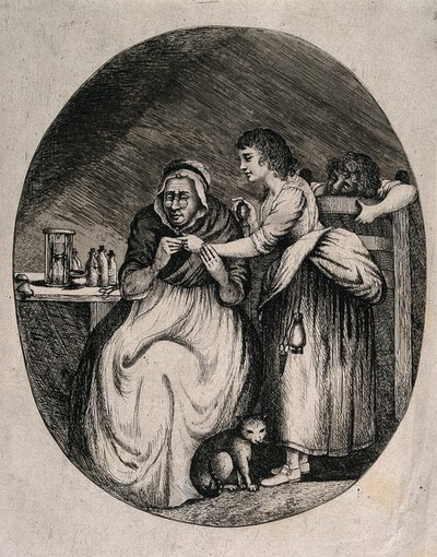 Image from object titled A woman doctor examining a young girl's finger. Etching after T.J. Northcote.
