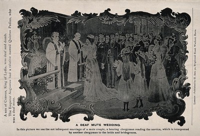 Image from object titled The wedding ceremony of two deaf-mutes conducted in sign language. Process print after H. Ash.