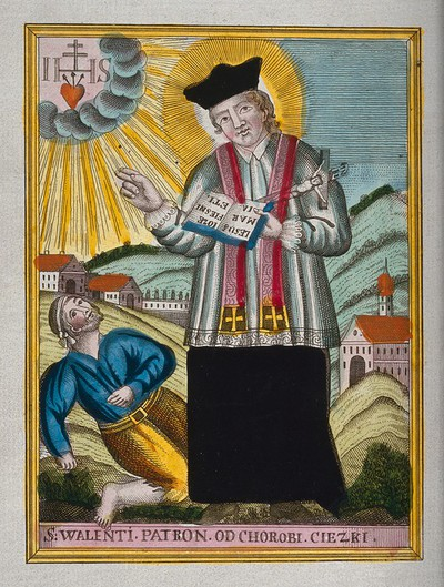 Image from object titled Saint Valentine blessing an epileptic. Coloured etching.