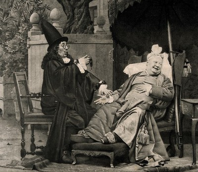 Image from object titled A physician reeling with surprise at an obese elderly man's pulse, the patient is grinning at a woman who approaches him with a tray full of food and wine. Photogravure after J.G. Vibert.