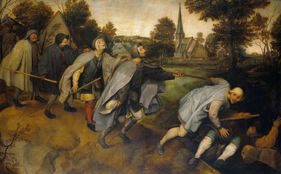 Image from object titled The blind leading the blind. Oil painting after Pieter Bruegel.