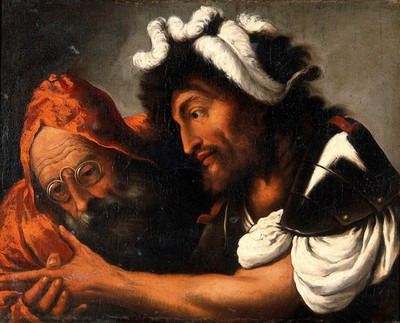Image from object titled A fortune-teller reading the palm of a soldier. Oil painting by Pietro Muttoni called della Vecchia.