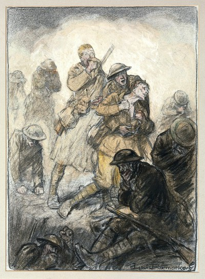 Image from object titled World War I: a poisonous gas attack on the Canadians in Flanders, 24 April 1915. Coloured chalks by Louis Raemaekers.