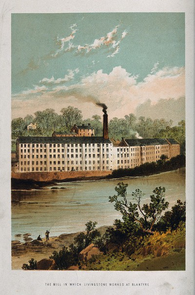 Image from object titled The spinning mill where David Livingstone worked, Blantyre, Scotland. Lithograph.