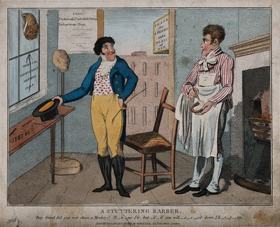 Image from object titled A barber in his shop preparing to shave a customer. Coloured etching.