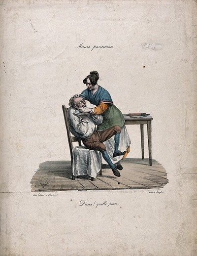 Image from object titled A female barber lathering the face of a nervous man. Coloured lithograph by Langlumé after E.J. Pigal.