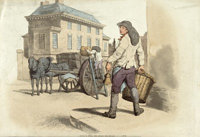 A dust cart with a man ringing bell to collect household soot. Coloured aquatint, 1805.