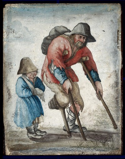 Image from object titled A one-legged man in rags moving with the aid of crutches is accompanied by a child with a bandaged arm. Gouache on vellum.