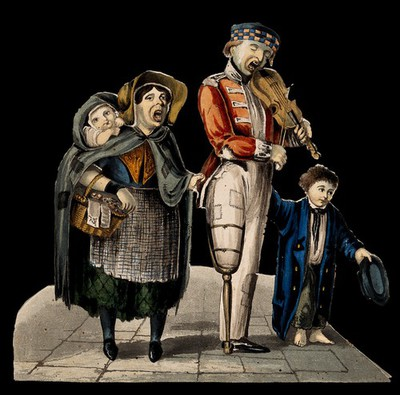 Image from object titled A man with a wooden leg plays the violin while his wife and children accompany him with a song. Coloured lithograph.