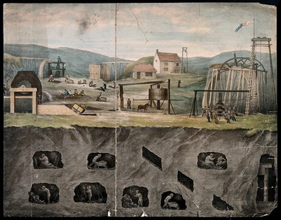 Image from object titled A coal mine: miners at work above and below ground. Coloured lithograph.