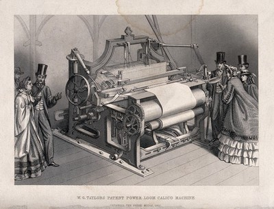 Textiles: a three-quarter view of a power loom, with admiring visitors either side. Engraving, c.1862.