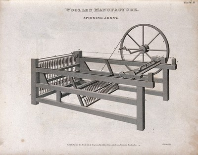 Image from object titled Textiles: a spinning jenny. Engraving by W. Lowry, 1811.