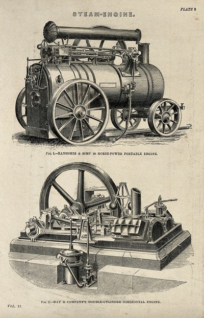 Image from object titled Engineering: a steam traction engine, and a stationary steam engine. Engraving c.1861.