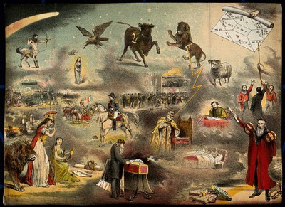 Image from object titled Astronomy: various apocalyptic scenes, including Napoleon III, a weeping man beside a child's [?] coffin, an assassination [?], and a battle in America. Coloured lithograph, n.d. [c.1869?].