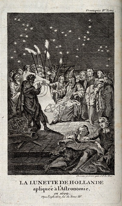 Image from object titled Astronomy: a gathering of people around an astronomical chart. Engraving after J. P. Le Bas.