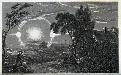 Image from object titled Astronomy: an atmospheric condition giving the effect of two suns. Engraving by A. Hay, 1820, after H.D. Craig.