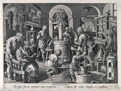 Image from object titled Chemists and workers operating distilling apparatus in a laboratory. Engraving by P. Galle (?) after J. van der Straet.