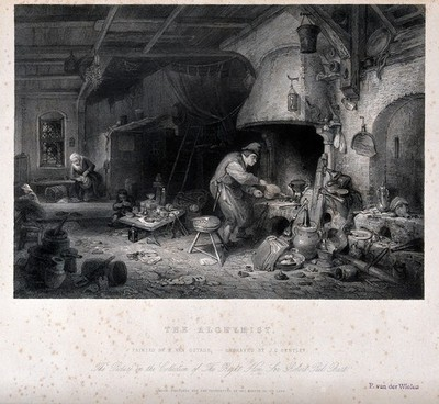 Image from object titled An alchemist with his family in their dim dwelling, working a bellows at his furnace. Engraving by J.C. Bentley after A. van Ostade, 1661.