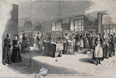 Image from object titled The chemical laboratory at Massachusetts Institute of Technology, Boston: women and men at class. Wood engraving, c. 1880.