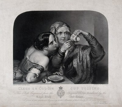 Image from object titled An old fortune-teller is reading a young woman's fortune by looking at tea leaves at the bottom of a cup. Engraving by Sharpe after Crowley, 1842.