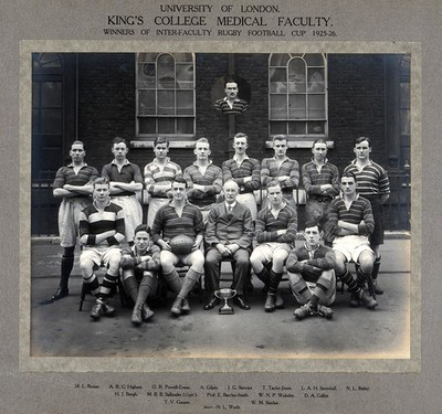 Image from object titled King's College (London) Medical Faculty Rugby Team: group portrait of winning team with cup for the 1925-1926 season. Photograph, 1926.