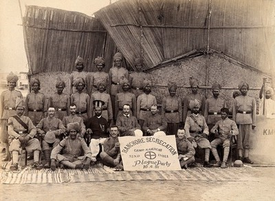 Image from object titled Staff of the Runchore segregation camp, set up by the Karachi Plague Committee, India. Photograph, 1897.