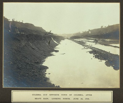 Image from object titled The Culebra Cut after heavy rain: Panama Canal construction work in progress. Photograph, 1910.