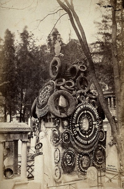 Image from object titled The tombstone of François Vincent Raspail at Père Lachaise cemetery, Paris. Photograph, 1878.
