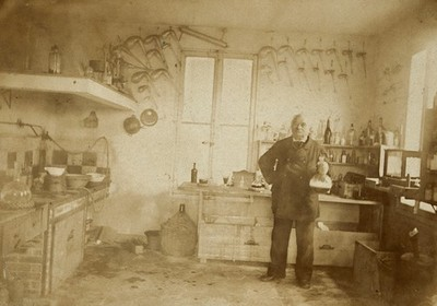 Image from object titled A French chemist in his laboratory. Photograph, 1880/1890.