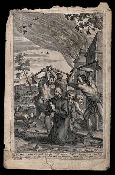 Image from object titled Martyrdom of Father Isaac Jogues S.J. Engraving by A. Malaer after A. van Diepenbeck.