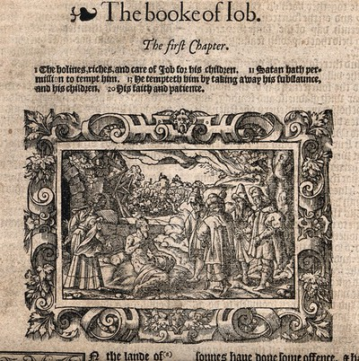 Image from object titled Job afflicted with boils, with his wife and comforters. Woodcut after Virgil Solis, 1568.