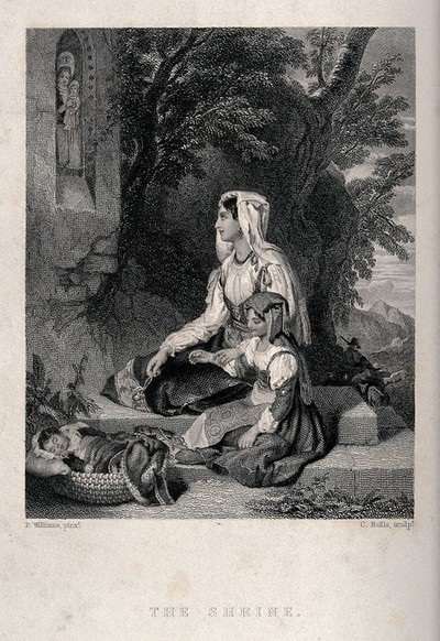 Image from object titled A young mother with her children in religious contemplation before a shrine of the Virgin and Child. Engraving by C. Rolls after P. Williams.