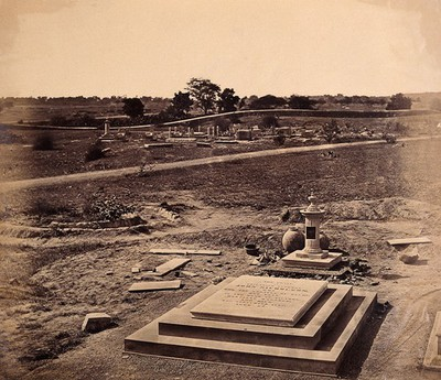 Image from object titled India: the tombstone of Brigadier General Nicholson in a cemetery near Delhi. Photograph by F. Beato, c. 1858.