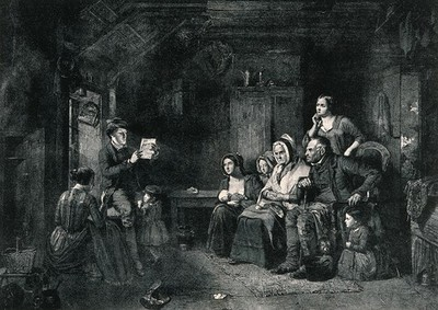 Image from object titled A family sits and listens to a letter from emigrants being read to them by a young man. Photomechanical reproduction after Thomas Faed A.R.S.A.