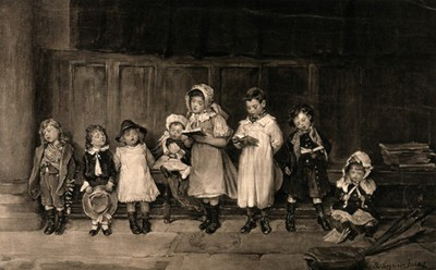 Image from object titled A group of children holding song books and singing. Process print after Mrs Seymour Lucas.
