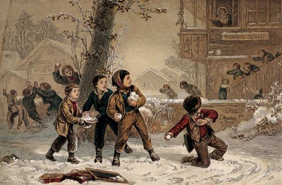 Image from object titled Groups of children are playing in the snow and throwing snowballs at one another. Process print after E. Girardet.