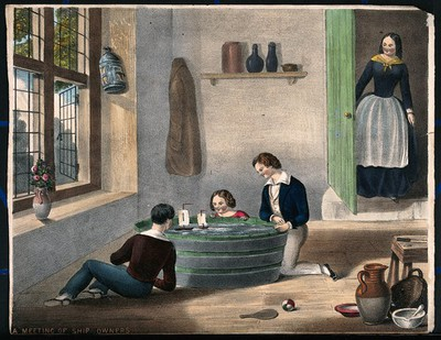 Three children play with boats sailing in a large tub of water. Coloured lithograph.