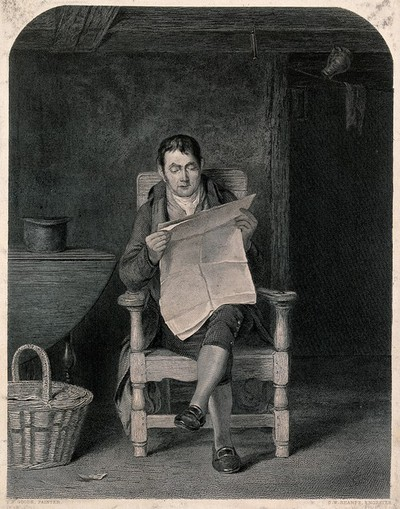 Image from object titled A seated man reading a newspaper in a kitchen (?), a basket by his feet. Engraving by C.W. Sharpe after T.S. Goode.