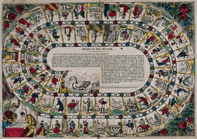 Image from object titled A board game with squares and numbers with the penalties, forfeits and rewards and instructions. Coloured lithograph.