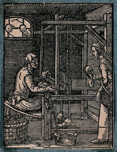 Image from object titled Textiles: two men weaving cloth on a loom. Woodcut.
