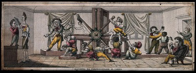 Image from object titled The handles of a machine are being turned by small people as a figure in the machine is flattened and stretched. Coloured etching by G.A. Sasso after himself.