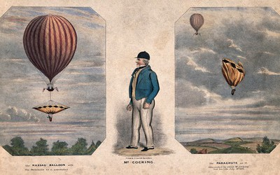 Image from object titled A hot-air balloon with its parachute, an aeronaut and a deflated parachute. Coloured lithograph.