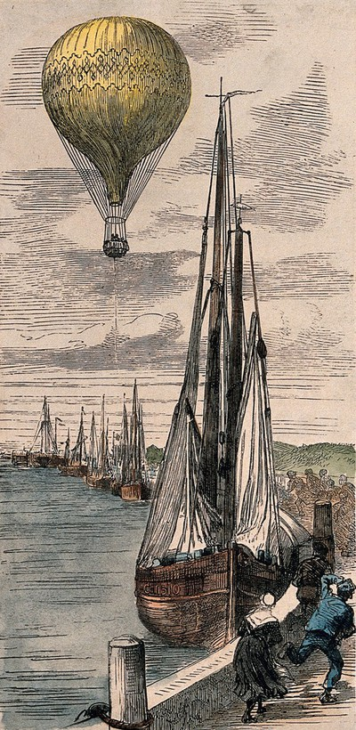 Image from object titled A hot-air balloon is drifting away from the land towards the sea. Coloured wood engraving.