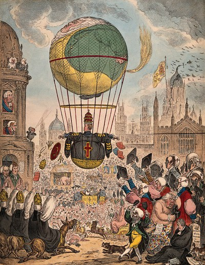 Image from object titled A large balloon flies over a town crowded with people. Coloured etching by James Gillray.