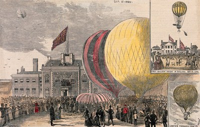 Image from object titled Crowds of people gathered in a square, with hot-air balloons on the ground. Coloured wood engraving after Corbould, 1884.