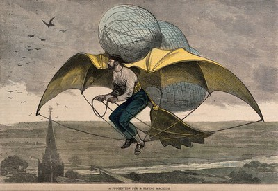 Image from object titled A man flying in the air with wings and balloons attached to him. Coloured wood engraving.