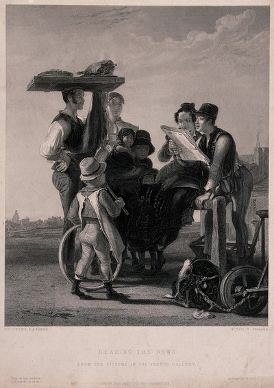 Image from object titled A group of people are gathered around a couple reading a newspaper. Engraving by W. Taylor after Sir David Wilkie.
