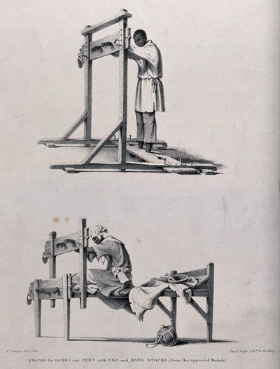 Image from object titled Two different types of stocks: the above confines the hands and feet of the culprit standing upright; the model below confines the hands and feet while the culprit is seated. Chalk lithograph by R. Bridgens.