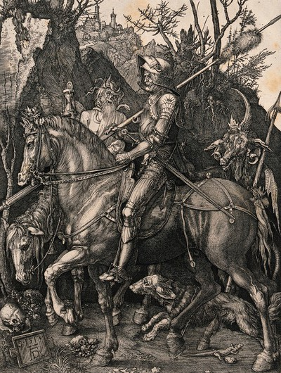 Image from object titled Death riding side by side with a knight, followed by a devil. Etching after A. Dürer.